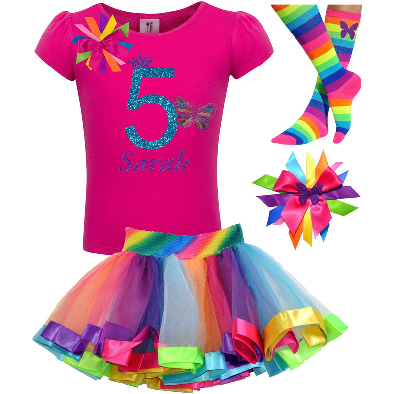 5th Birthday Outfit - Pink Butterfly - Outfit - Bubblegum Divas Store