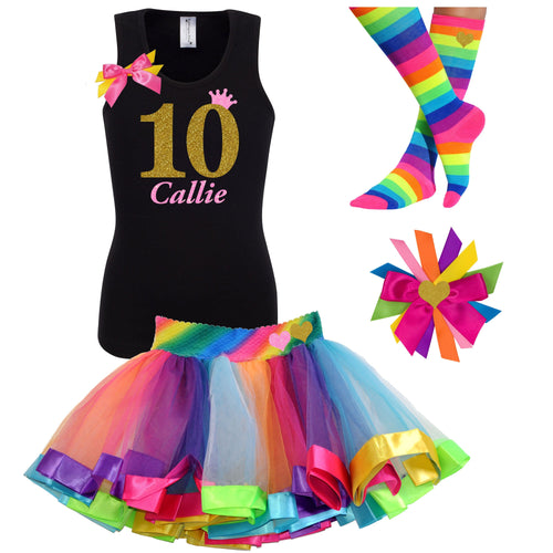 10th Birthday Shirt Gold Glitter Girls Rainbow Tutu Party Outfit 4PC Set - Outfit - Bubblegum Divas Store