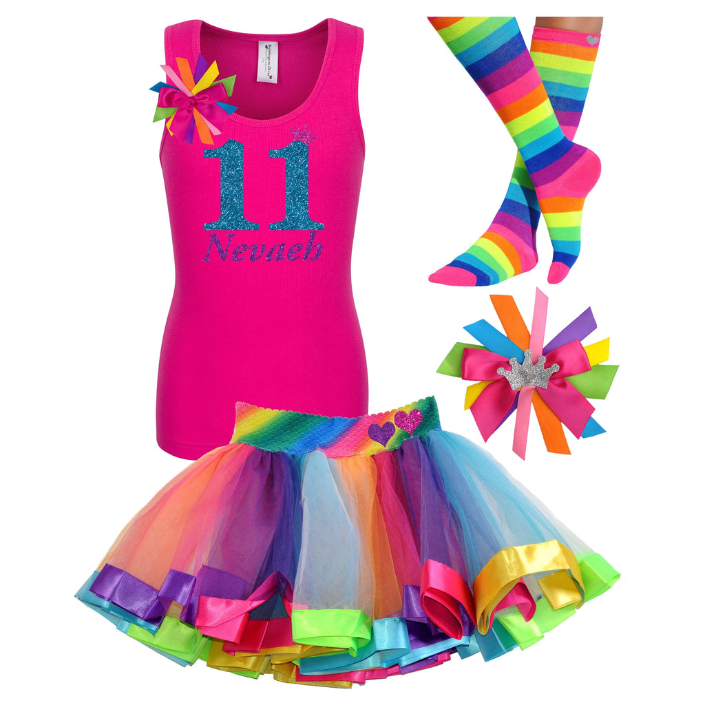 11th Birthday Girl - White Shirt Rainbow Tutu Outfit - Bubblegum Divas Store