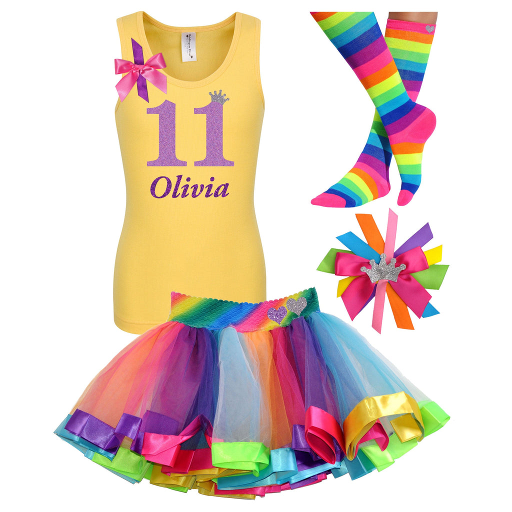 11th Birthday Girl - Purple Rainbow Outfit - Bubblegum Divas Store