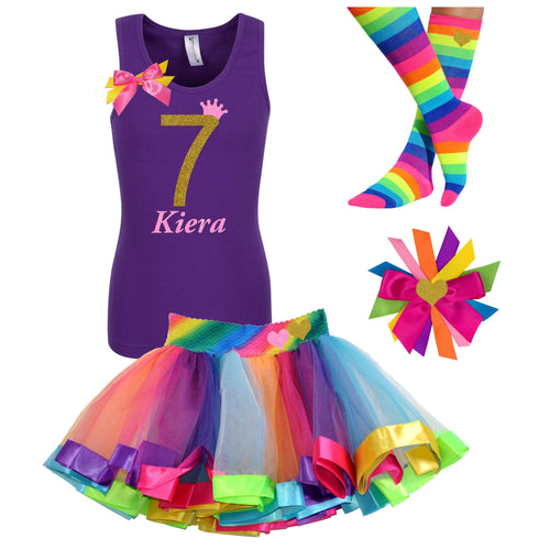 7th Birthday Shirt Gold Glitter Girls Rainbow Tutu Party Outfit 4PC Set 7