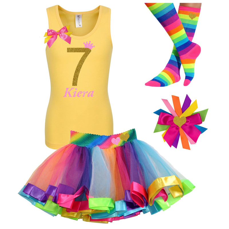 7th Birthday Outfit - Golden Caramel - Outfit - Bubblegum Divas Store