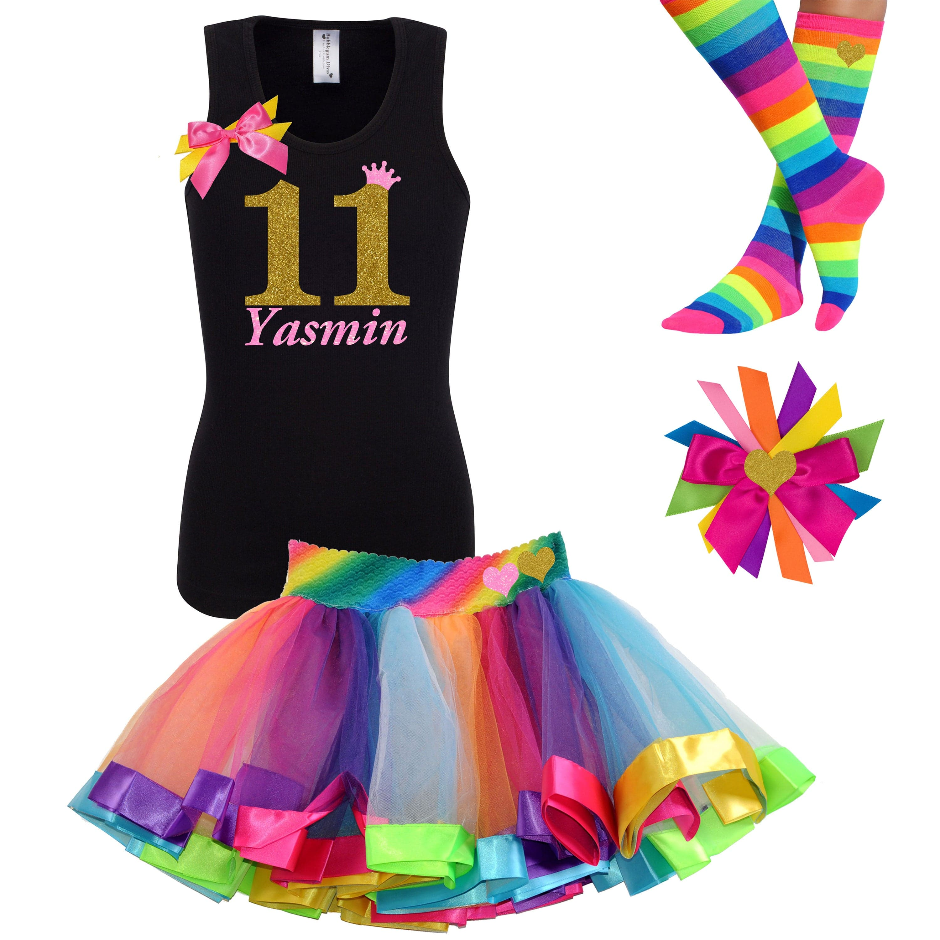 11th Birthday Shirt Gold Rainbow Party Outfit Personalized - Outfit - Bubblegum Divas Store