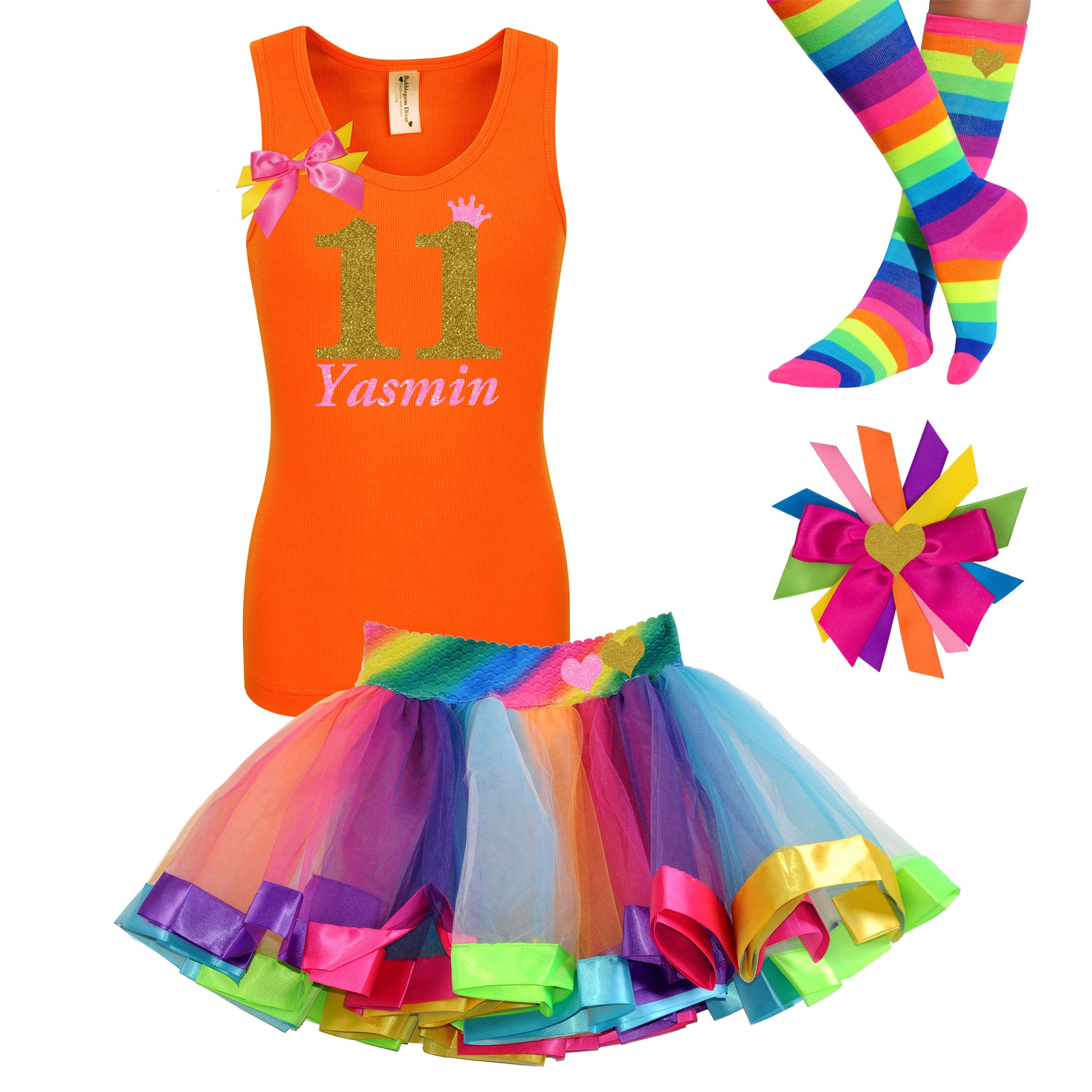 11th Birthday Shirt Gold Glitter Girls Rainbow Tutu Party Outfit 4PC Set