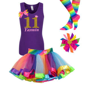 11th Birthday Girl - Rainbow Outfit - Bubblegum Divas Store