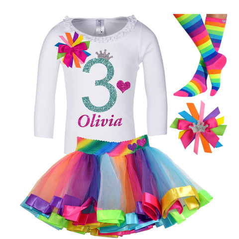 5th Birthday Shirt Rainbow Tutu Girls Party Outfit 4PC Set
