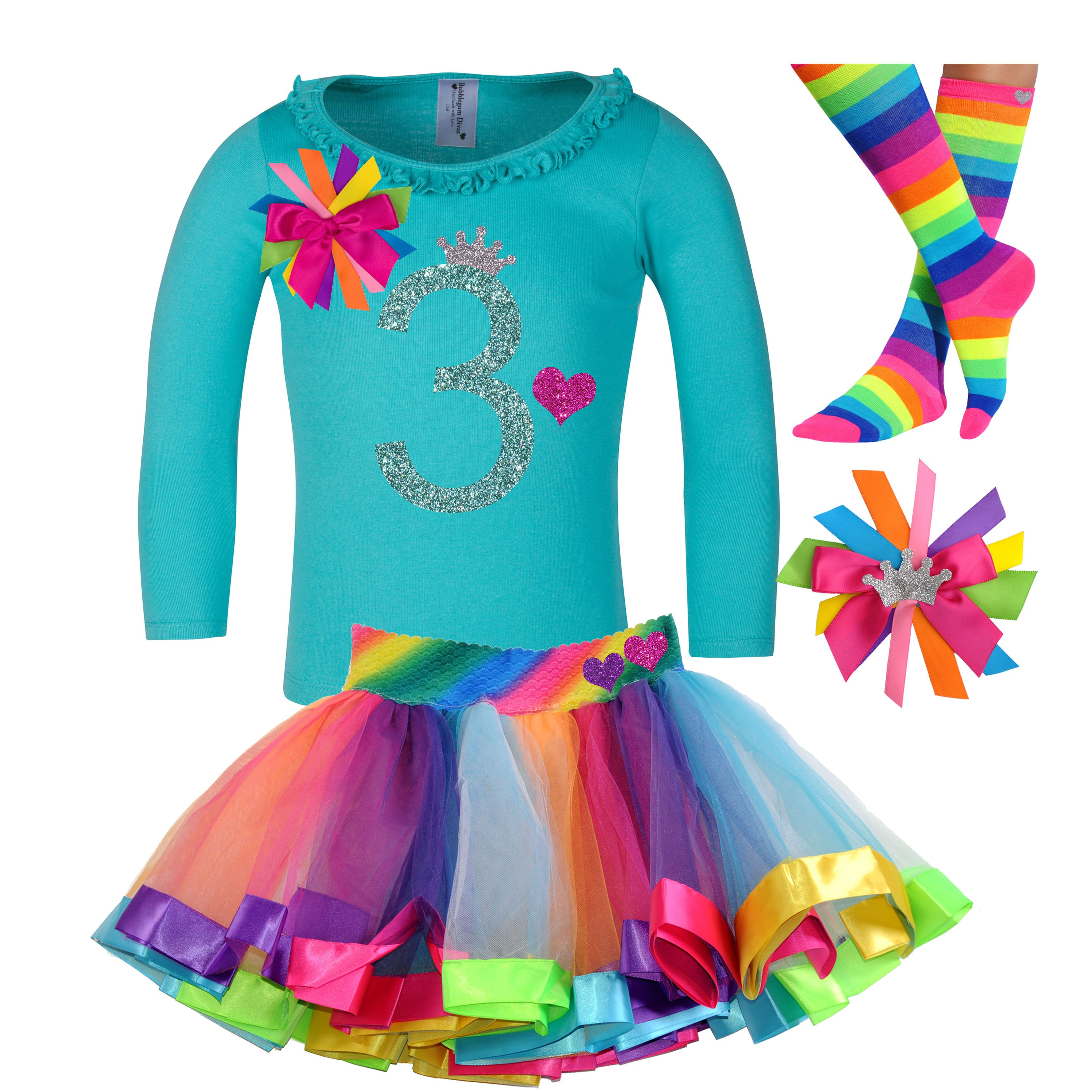 3rd Birthday Long Sleeve Rainbow Tutu Outfit 4PC Set