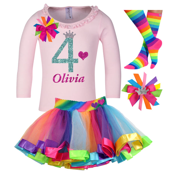 4th Birthday Long Sleeve Rainbow Tutu Outfit 4PC Set - Outfit - Bubblegum Divas Store