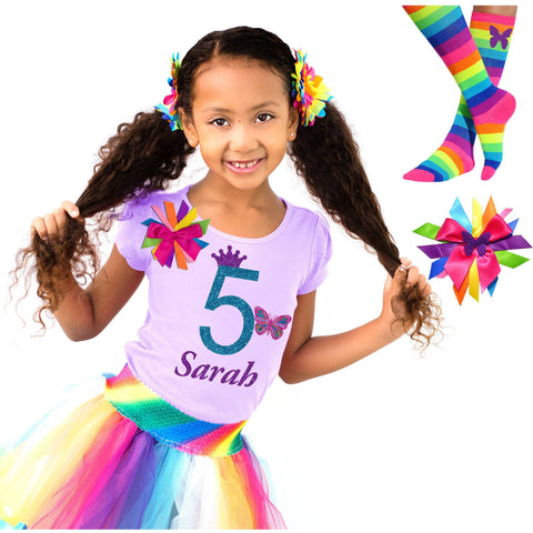 7th Birthday Shirt Rainbow Tutu Outfit Monarch Butterfly Shirt