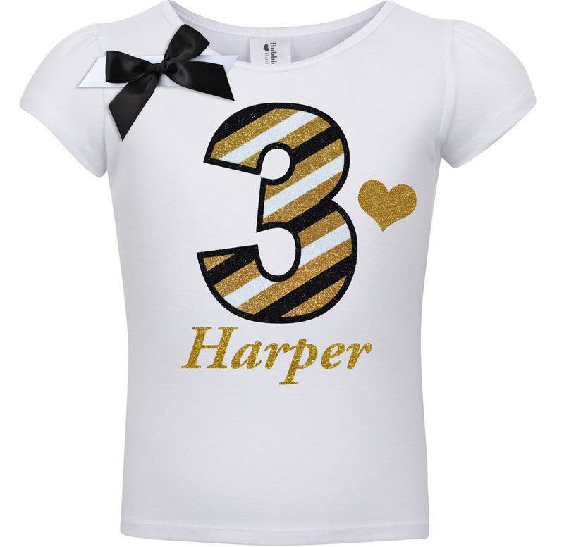 3rd Birthday Shirt - Black Gold Stripes - Shirt - Bubblegum Divas Store