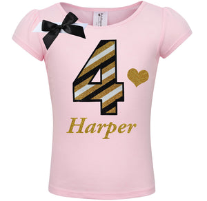 4th Birthday Shirt - Black Gold Stripes - Shirt - Bubblegum Divas Store