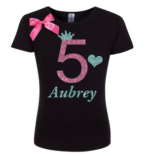 5th Birthday Shirt - Pink Apple - Shirt - Bubblegum Divas Store