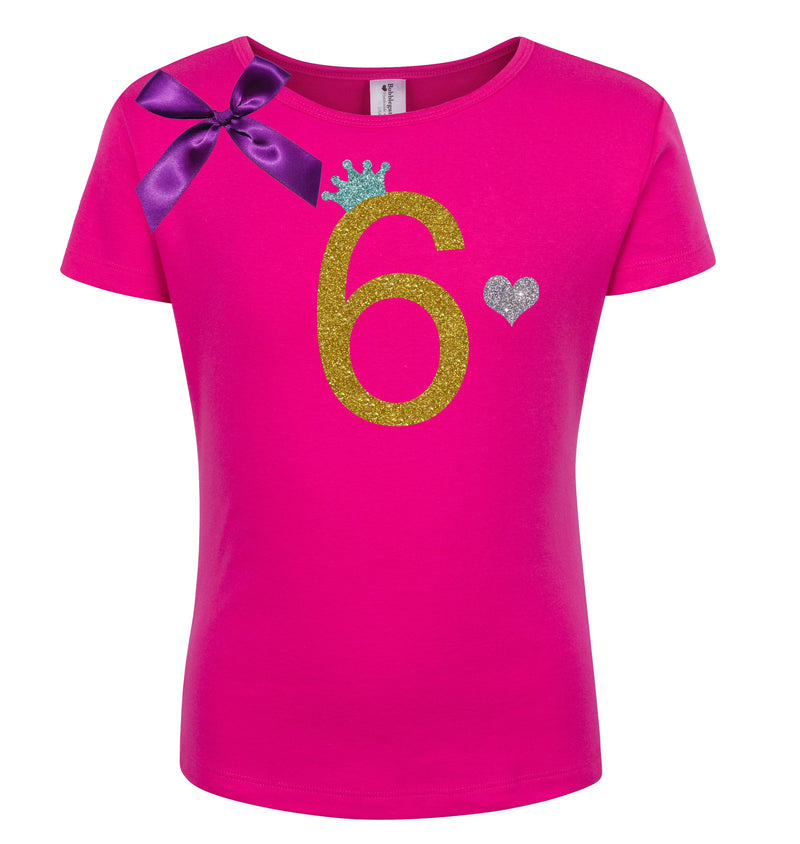 6th Birthday Shirt - Gold Sparkle Diva