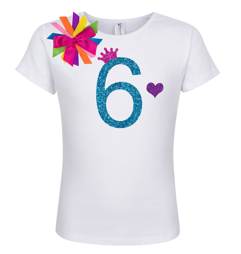 6th Birthday Shirt - Blue Cherry Twist