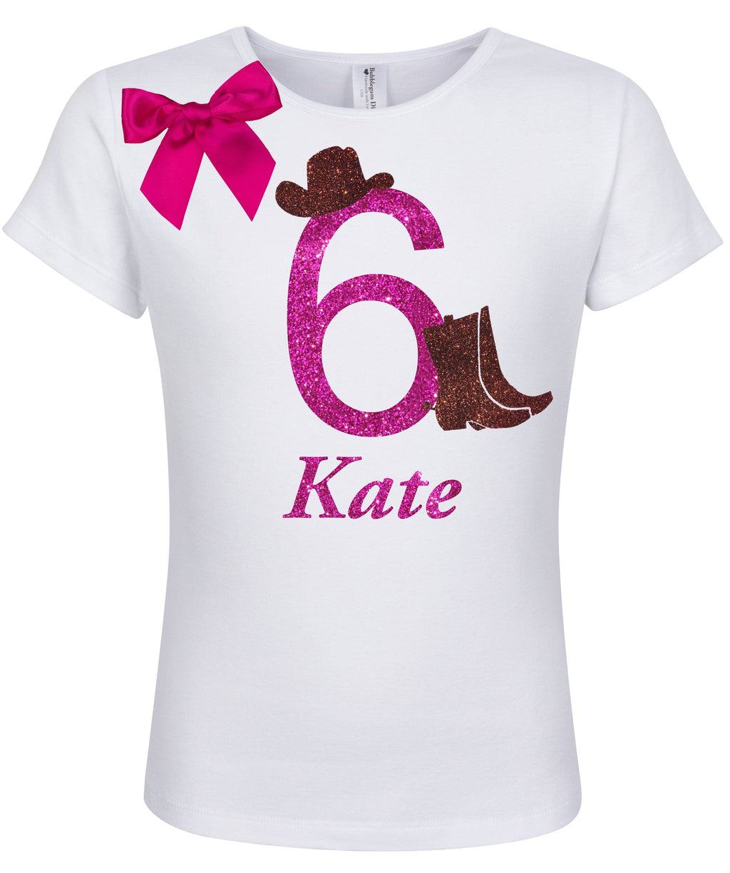 6th Birthday Shirt - Cowgirl Hat