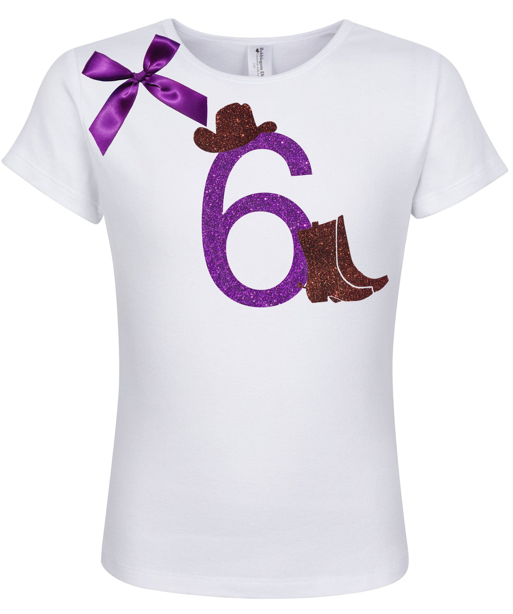 6th Birthday Shirt - Cowgirl Boots