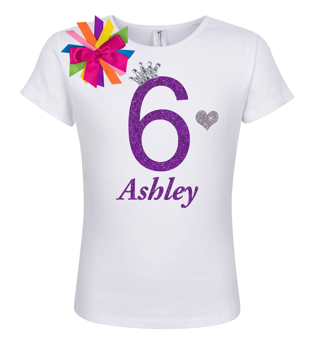 6th Birthday Shirt - Diamond Grape