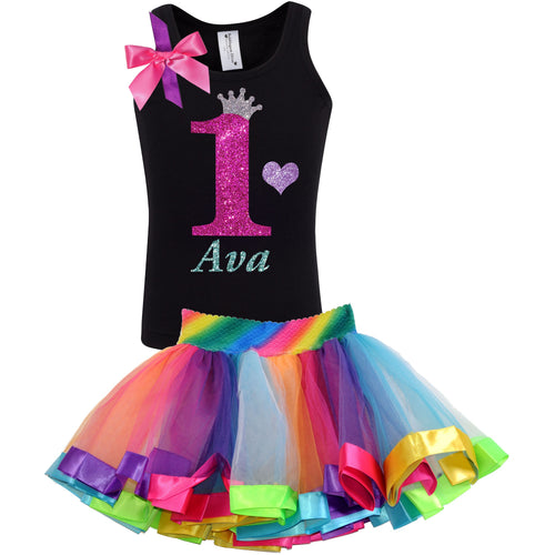 1st Birthday Hot Pink Glitter Shirt Girls Rainbow Tutu Party Outfit 2PC Set - Set - Bubblegum Divas Store