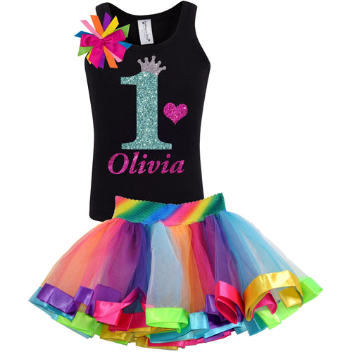 1st Birthday Jade Glitter Shirt Rainbow Tutu Girls Party Outfit 2PC Set