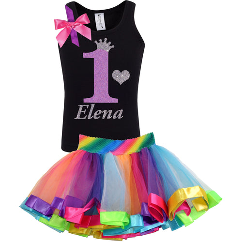 1st Birthday Lavender Glitter Shirt Girls Rainbow Tutu Party Outfit 2PC Set - Set - Bubblegum Divas Store