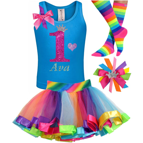 1st Birthday Hot Pink Glitter Shirt Girls Rainbow Tutu Party Outfit 4PC Set