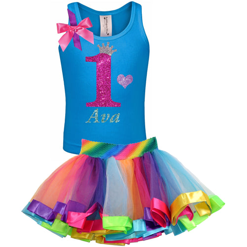 1st Birthday Hot Pink Glitter Shirt Girls Rainbow Tutu Party Outfit 2PC Set