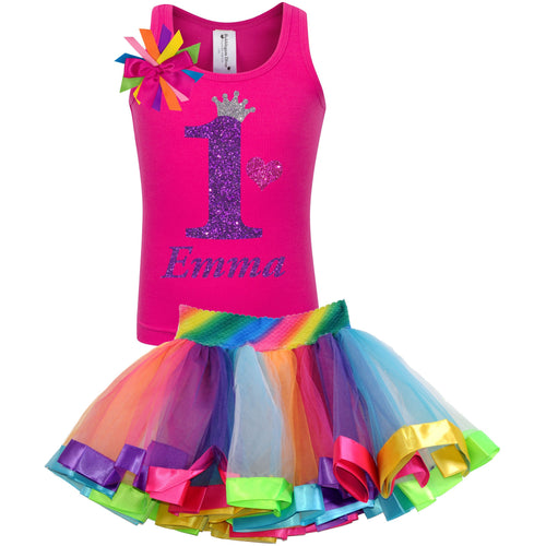 1st Birthday Purple Glitter Shirt Girls Rainbow Tutu Party Outfit 2PC Set - Set - Bubblegum Divas Store