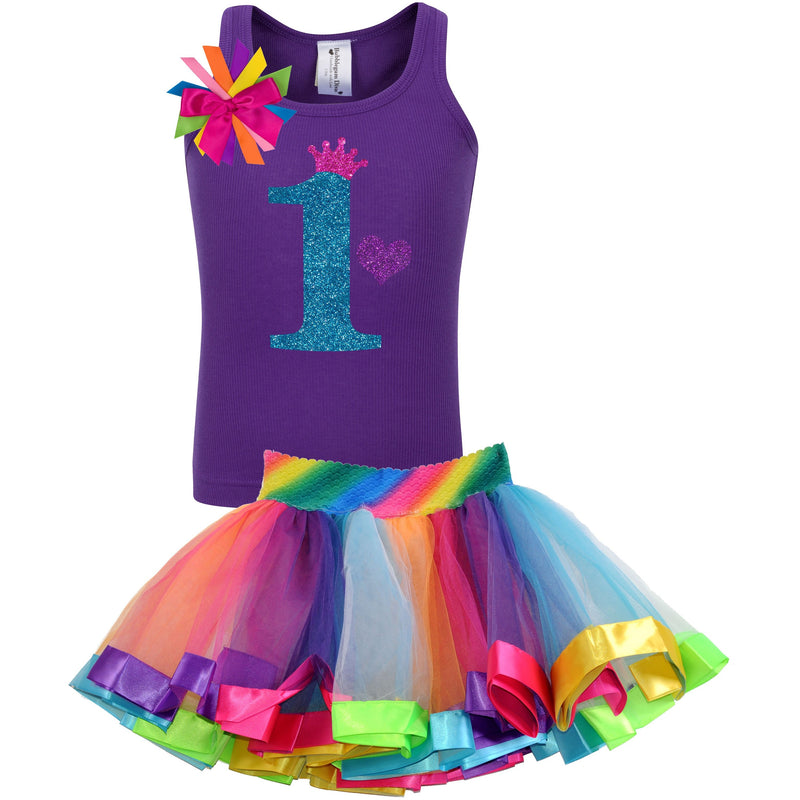 1st Birthday Blue Glitter Shirt Girls Rainbow Tutu Party Outfit 2PC Set - Set - Bubblegum Divas Store