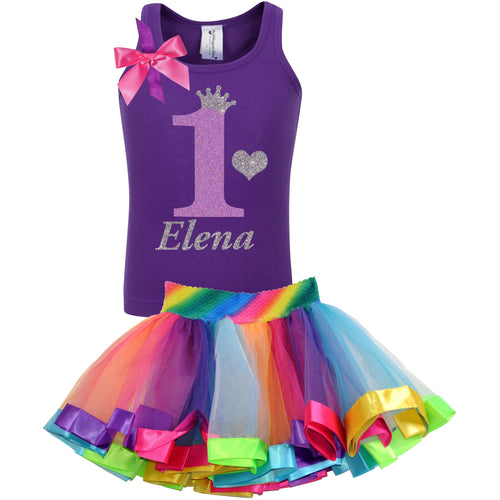 1st Birthday Lavender Glitter Shirt Girls Rainbow Tutu Party Outfit 2PC Set