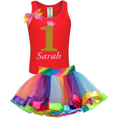 1st Birthday Gold Glitter Shirt Rainbow Tutu Girls Party Outfit 2PC Set