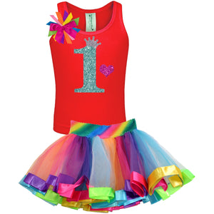 1st Birthday Jade Glitter Shirt Rainbow Tutu Girls Party Outfit 2PC Set - Set - Bubblegum Divas Store