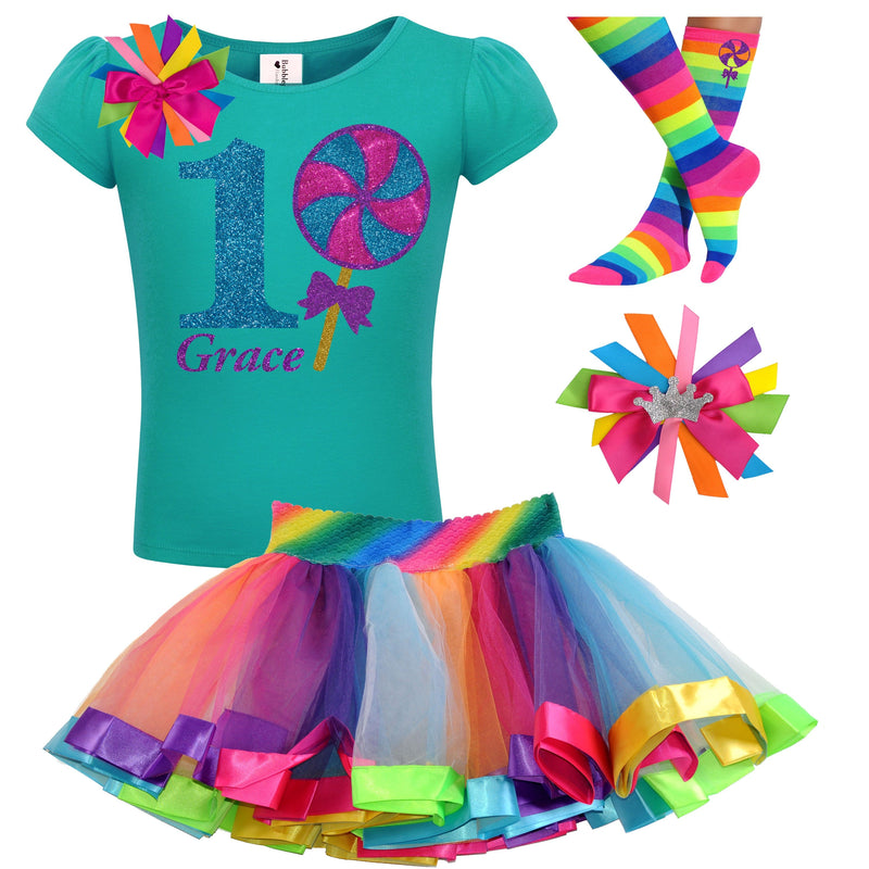 1st Birthday Outfit - Blueberry Swirl Lollipop - Outfit - Bubblegum Divas Store