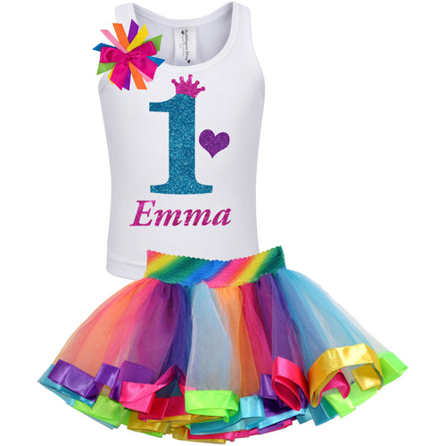 1st Birthday Blue Glitter Shirt Girls Rainbow Tutu Party Outfit 2PC Set