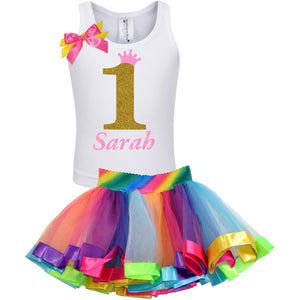 1st Birthday Gold Glitter Shirt Rainbow Tutu Party Outfit 2PC Set - Set - Bubblegum Divas Store
