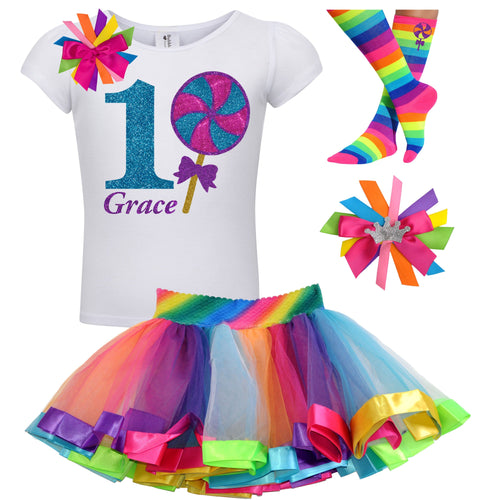 1st Birthday Lollipop Shirt Girls Rainbow Tutu Party Outfit 4PC Set