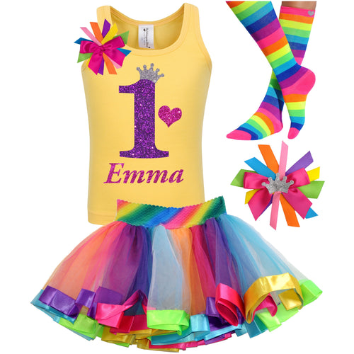 1st Birthday Purple Glitter Shirt Girls Rainbow Tutu Party Outfit 4PC Set