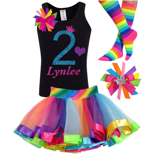 2nd Birthday Blue Glitter Shirt Girls Rainbow Tutu Party Outfit 4PC Set