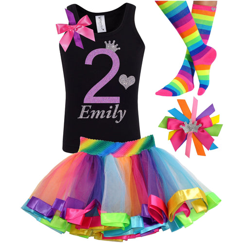 2nd Birthday Lavender Glitter Shirt Girls Rainbow Tutu Party Outfit 4PC Set