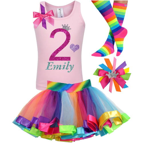 2nd Birthday Hot Pink Glitter Shirt Girls Rainbow Tutu Party Outfit 4PC Set