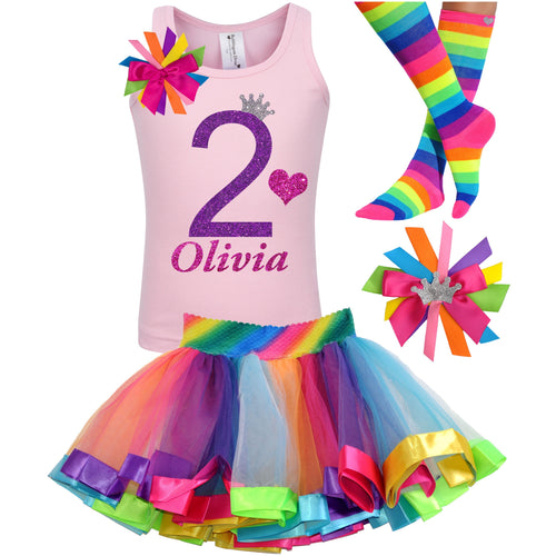 2nd Birthday Purple Glitter Shirt Girls Rainbow Tutu Party Outfit 4PC Set