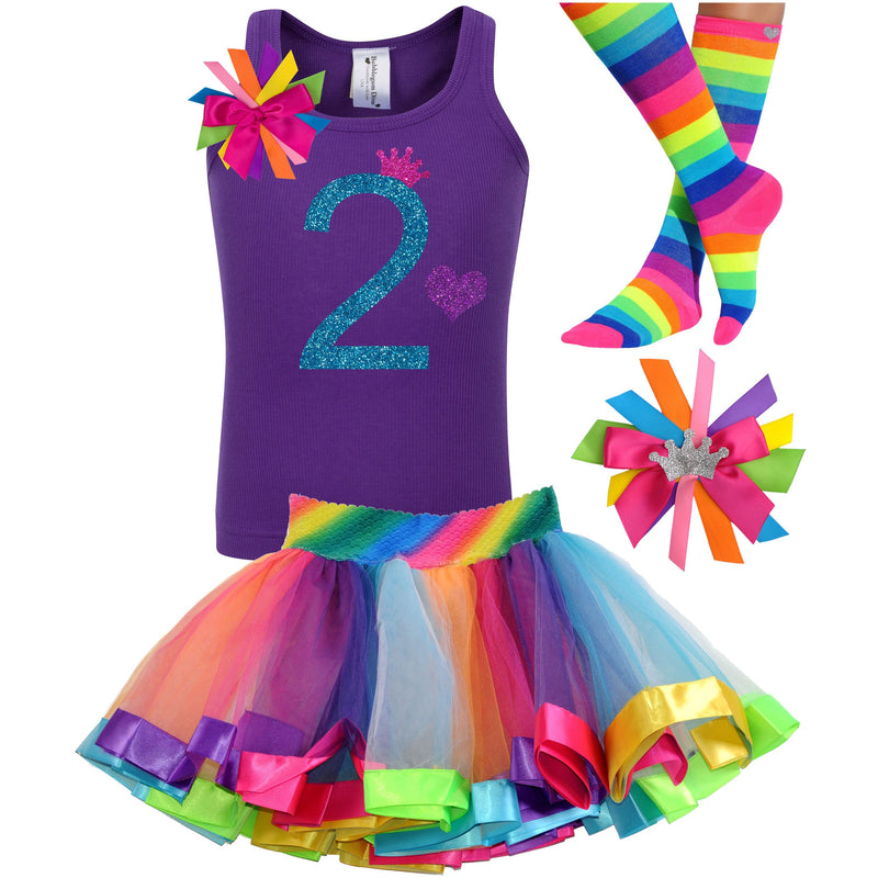 2nd Birthday Blue Glitter Shirt Girls Rainbow Tutu Party Outfit 4PC Set - Outfit - Bubblegum Divas Store