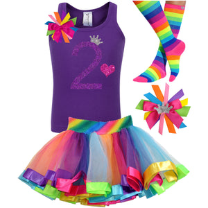 2nd Birthday Purple Glitter Shirt Girls Rainbow Tutu Party Outfit 4PC Set - Outfit - Bubblegum Divas Store