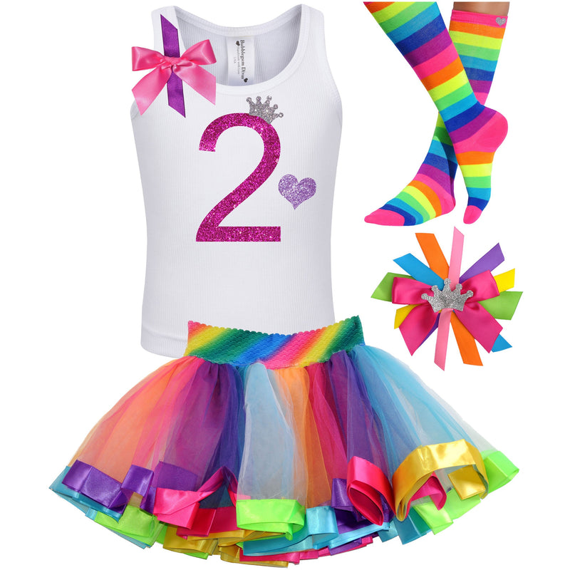 2nd Birthday Hot Pink Glitter Shirt Girls Rainbow Tutu Party Outfit 4PC Set - Outfit - Bubblegum Divas Store