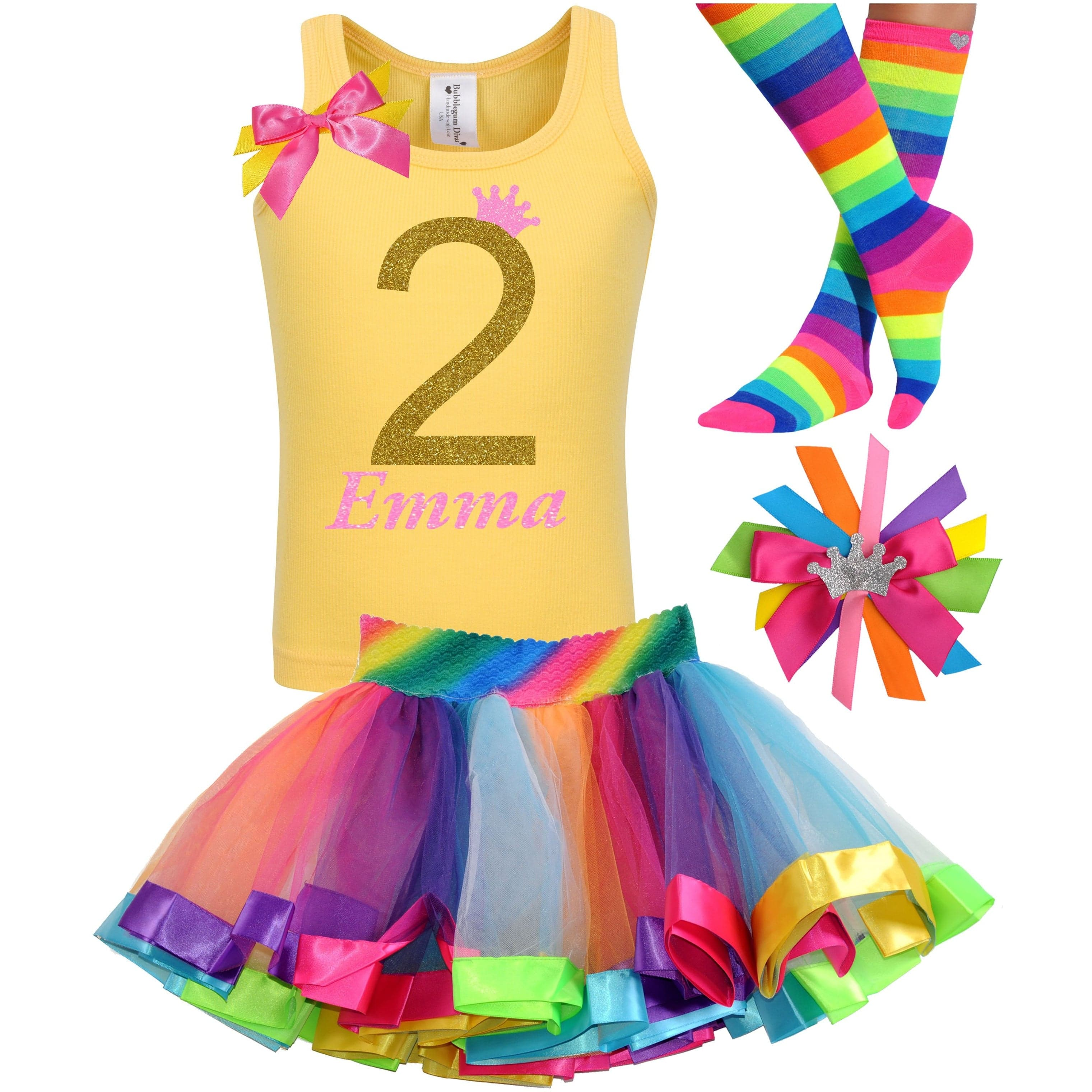 2nd Birthday Gold Glitter Shirt Girls Rainbow Tutu Party Outfit 4PC Set