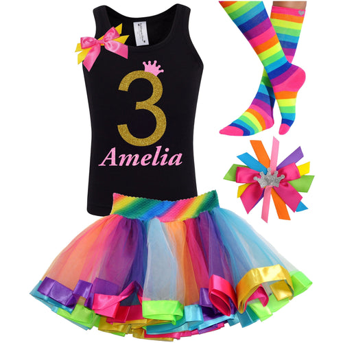 3rd Birthday Gold Glitter Shirt Girls Rainbow Tutu Party Outfit 4PC Set