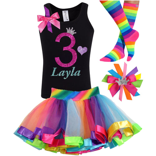 3rd Birthday Hot Pink Glitter Shirt Girls Rainbow Tutu Party Outfit 4PC Set