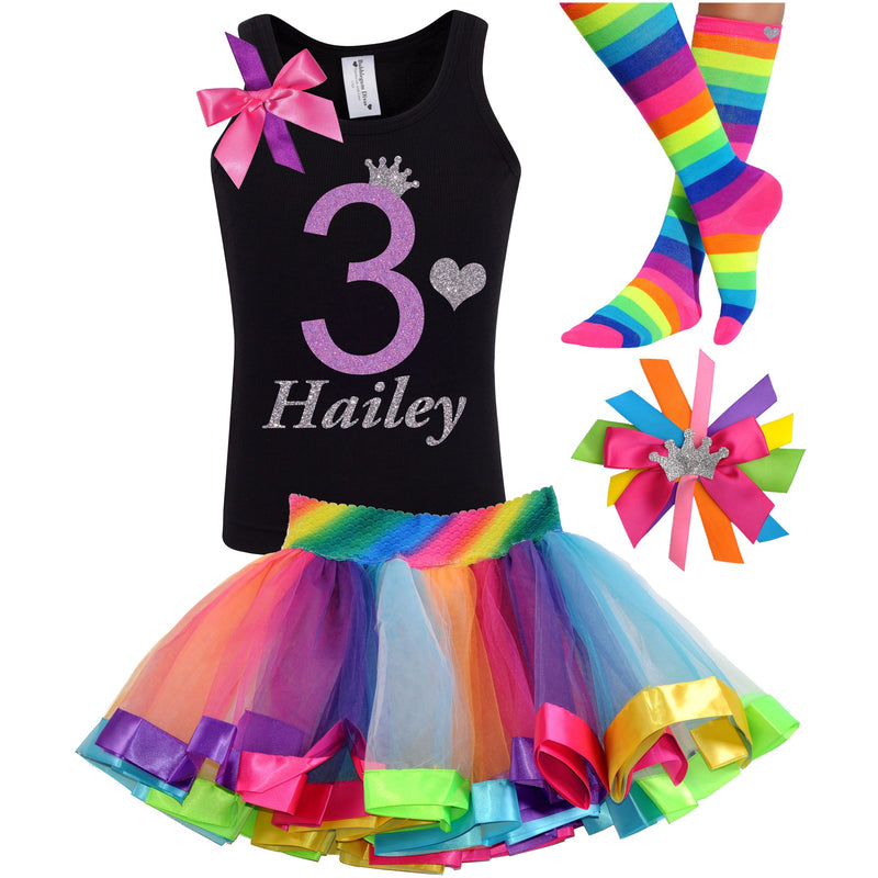 3rd Birthday Lavender Glitter Shirt Girls Rainbow Tutu Party Outfit 4PC Set - Outfit - Bubblegum Divas Store