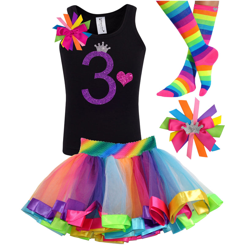 3rd Birthday Purple Glitter Shirt Girls Rainbow Tutu Party Outfit 4PC Set - Outfit - Bubblegum Divas Store