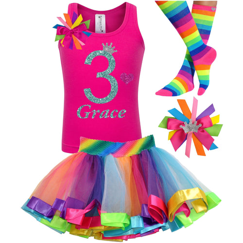 3rd Birthday Jade Glitter Shirt Girls Rainbow Tutu Party Outfit 4PC Set