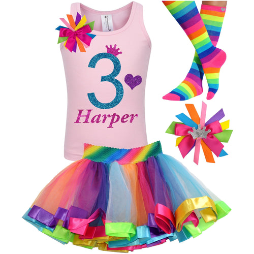 3rd Birthday Blue Glitter Shirt Girls Rainbow Tutu Party Outfit 4PC Set